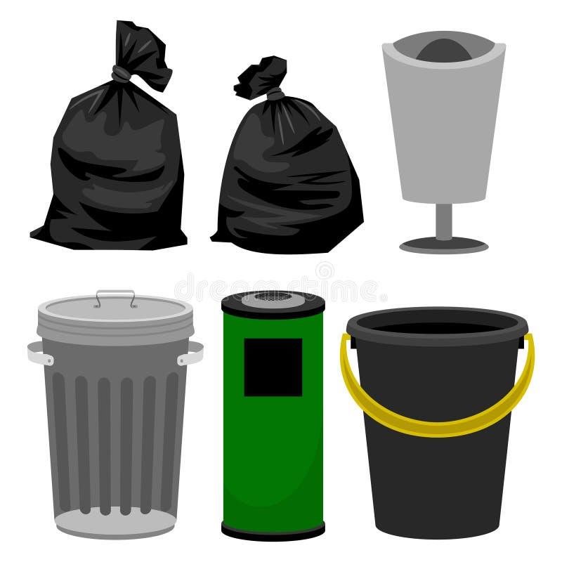 Poubelles en plastique et métalliques, sachets en plastique noirs pour des déchets illustration stock