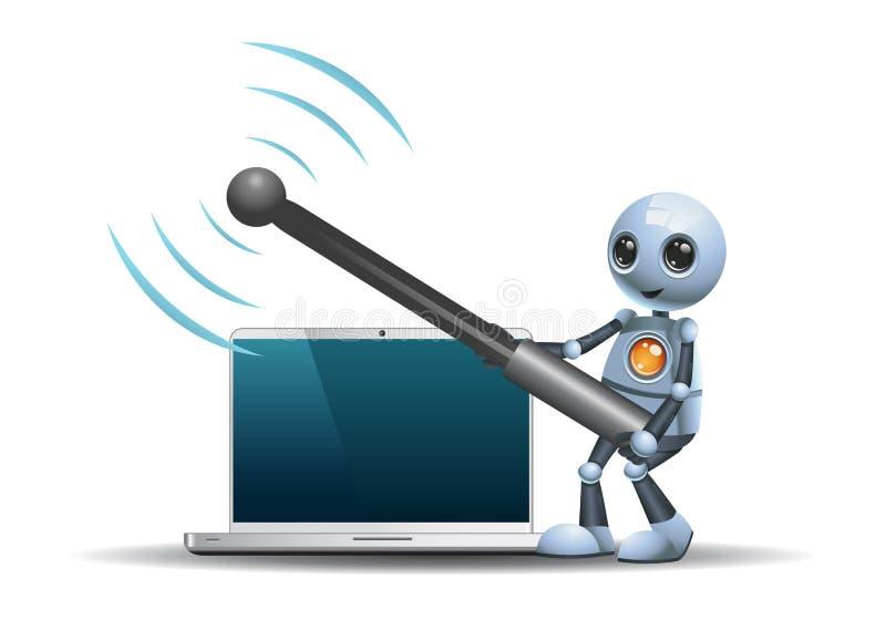 Pouca antena de Wi-Fi da posse do robô ilustração royalty free