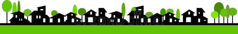 Pouca bandeira da vila ilustração stock