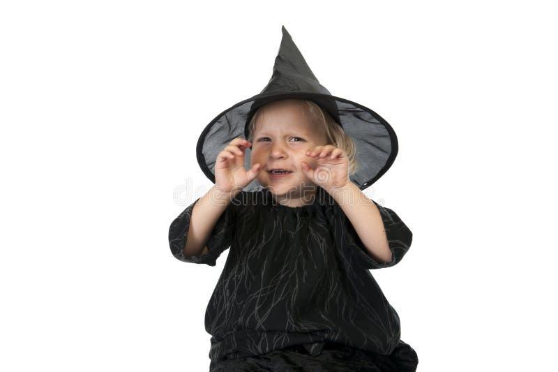 Pouca bruxa do Dia das Bruxas no fundo branco fotos de stock