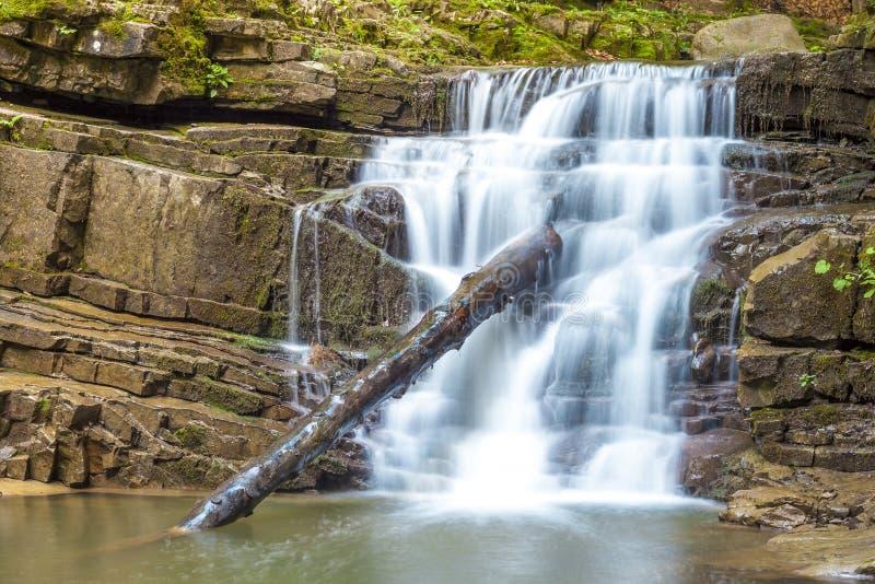Pouca cachoeira na floresta da montanha com água de formação de espuma de seda imagens de stock royalty free
