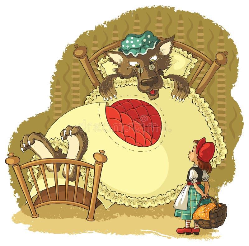 Pouca capa e lobo de equitação vermelha ilustração royalty free
