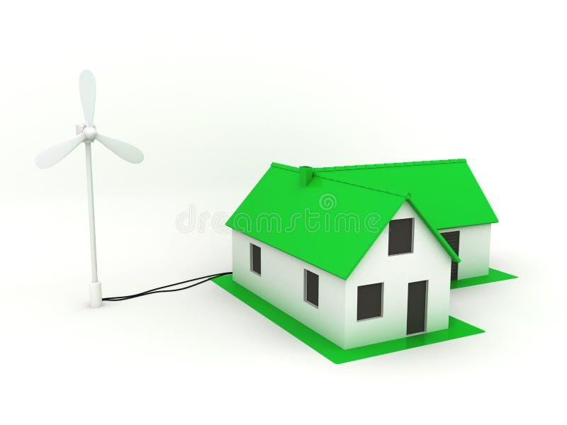 Pouca casa verde com moinho de vento ilustração do vetor