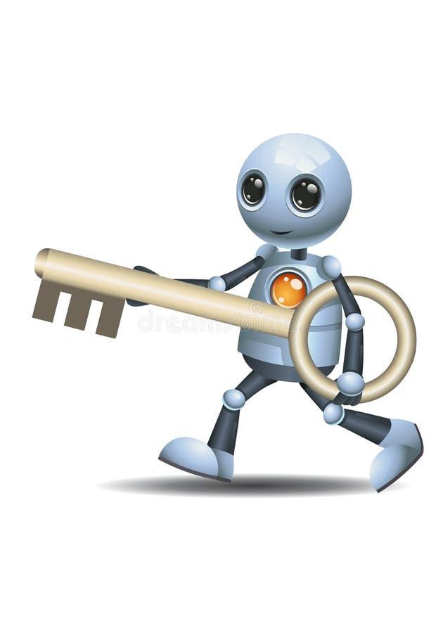 Pouca chave do gigante da posse do robô ilustração stock