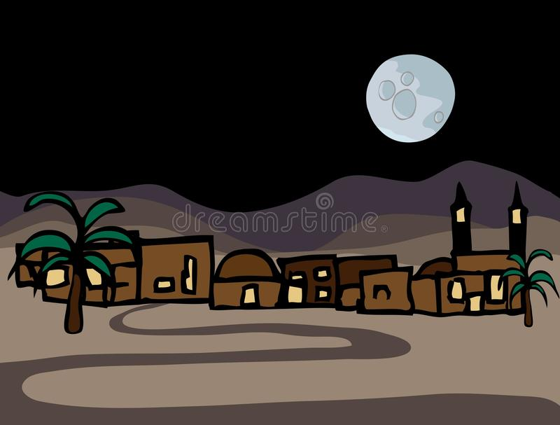 Pouca cidade do deserto do leste próximo ilustração royalty free