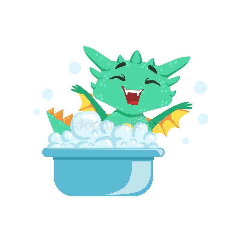 Pouca ilustração de Emoji do caráter de Dragon Enjoying Bubble Bath Cartoon do bebê do estilo do Anime ilustração stock