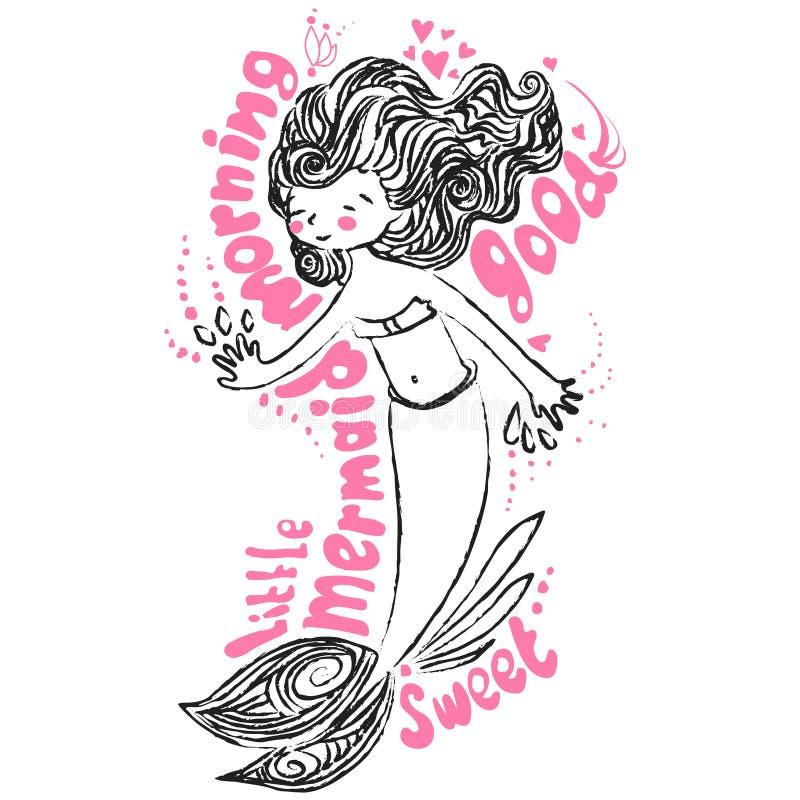 Pouca ilustração do maimaid O cartão com mão da rotulação e do vetor da manhã tira a sereia bonito, garatuja do giz no branco ilustração do vetor