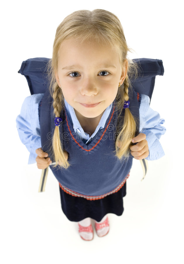 Pouca menina da escola foto de stock royalty free