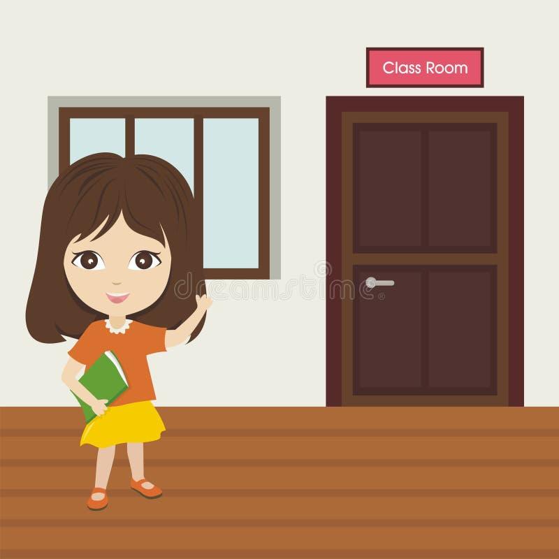 Pouca menina da escola que mostra nossa sala de aula ilustração do vetor