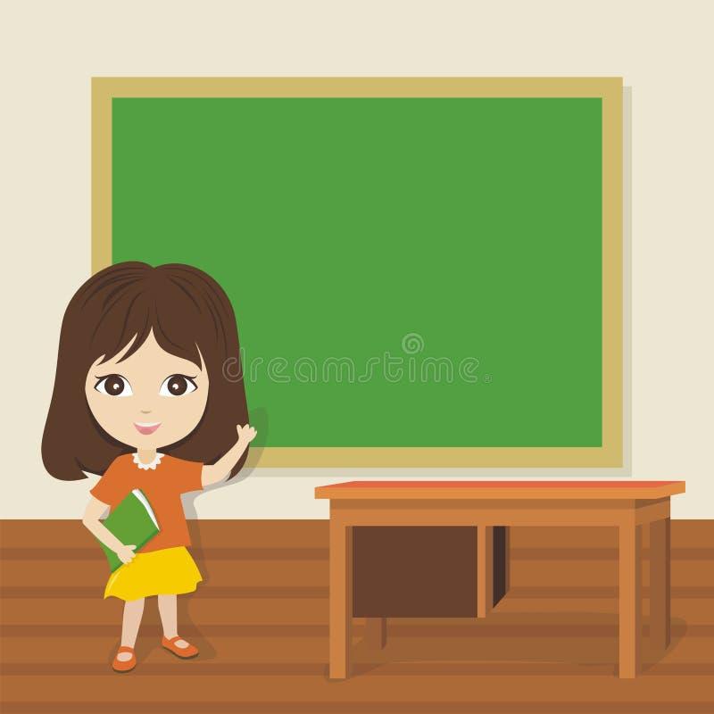 Pouca menina da escola que mostra o quadro-negro vazio ilustração royalty free