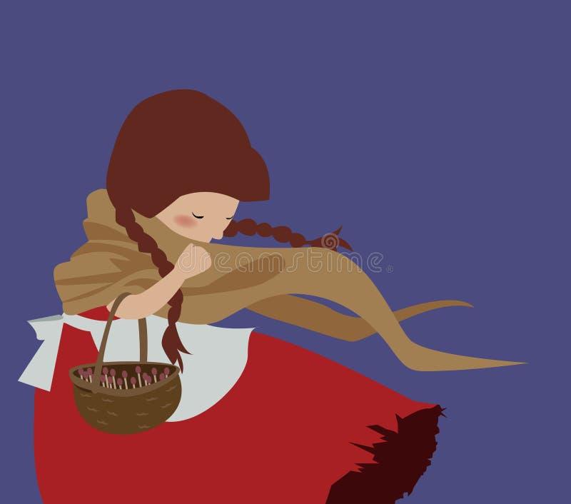 Pouca menina da vara do fósforo ilustração do vetor