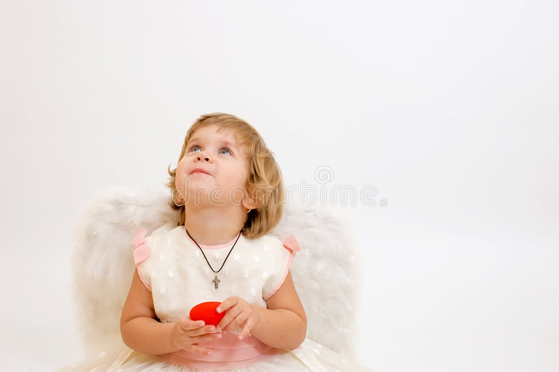 Pouca menina do anjo fotos de stock