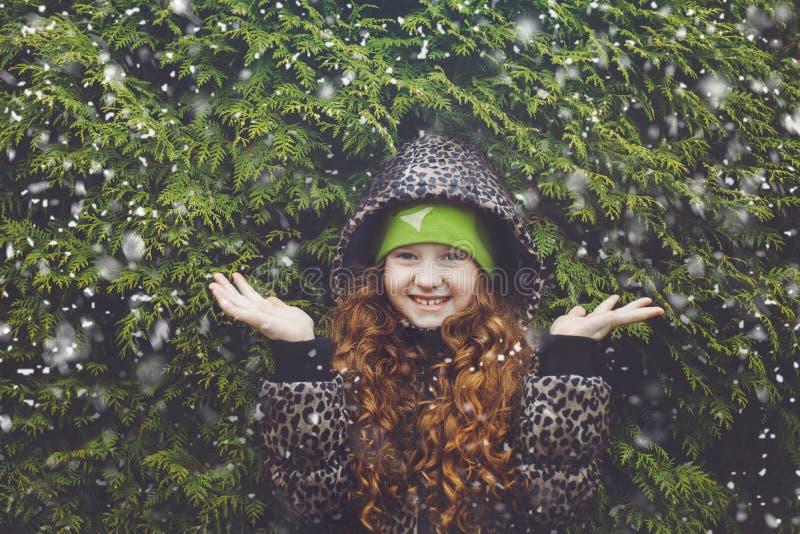 Pouca menina do cabelo encaracolado perto da árvore verde do inverno foto de stock royalty free