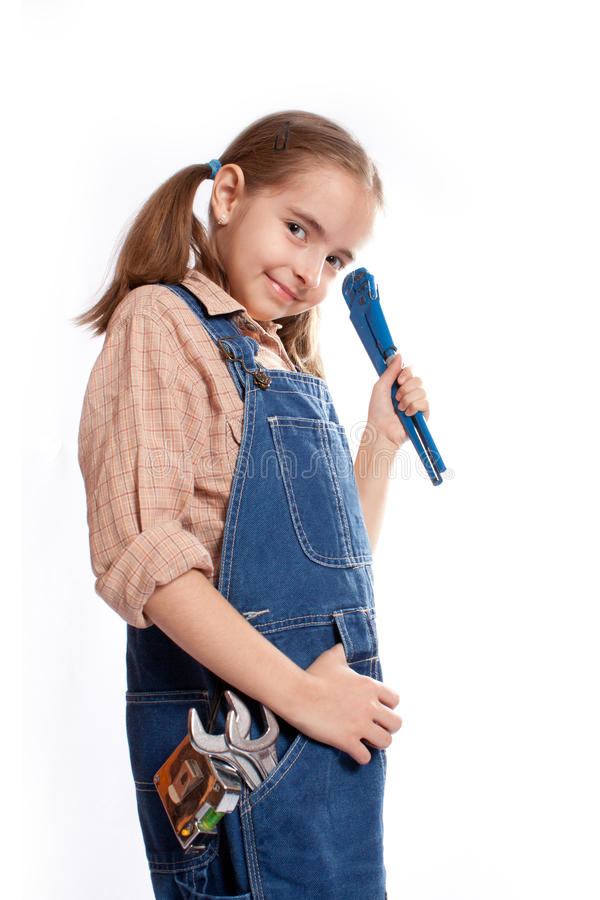 Pouca menina mestra com chave imagem de stock royalty free