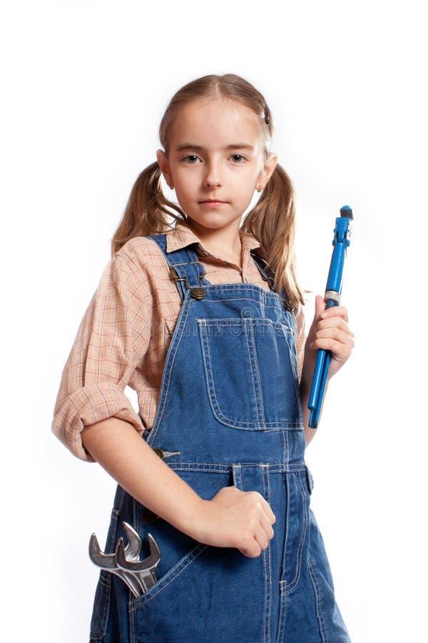 Pouca menina mestra com chave imagem de stock
