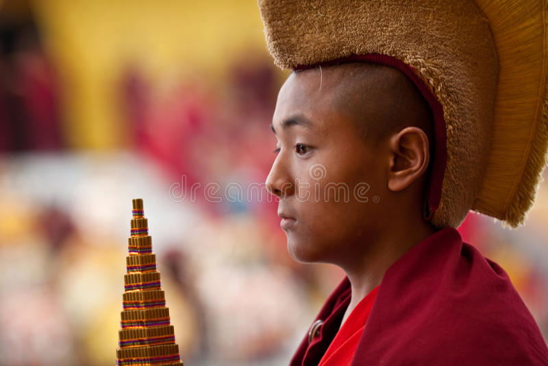 Pouca monge gelug-pa budista fotografia de stock
