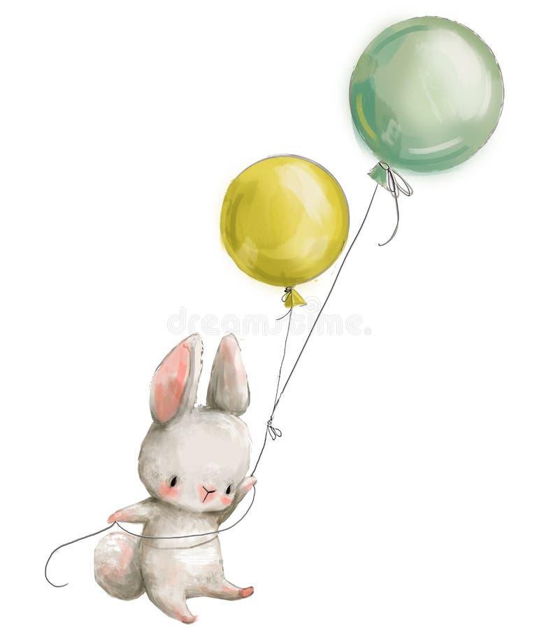 Pouca mosca da lebre com balão ilustração royalty free