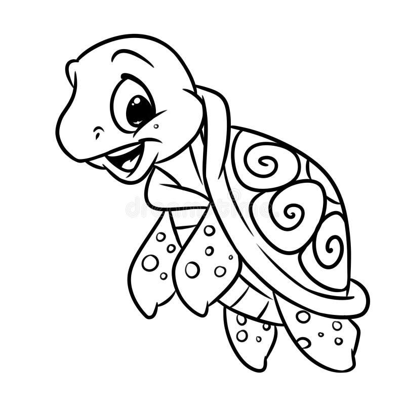 Pouca página da coloração da tartaruga de mar ilustração do vetor