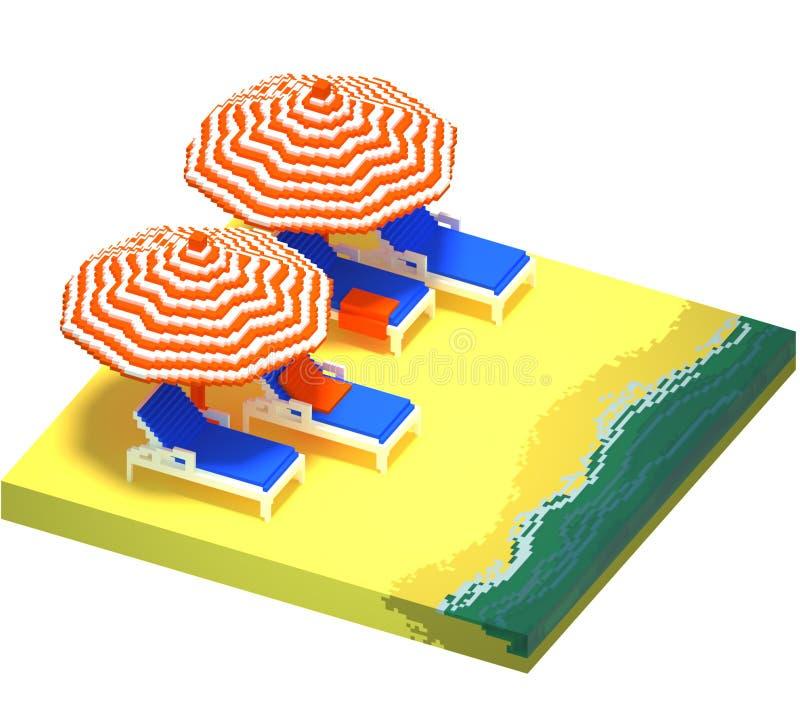 Pouca paisagem da praia - arte do voxel 3d ilustração do vetor