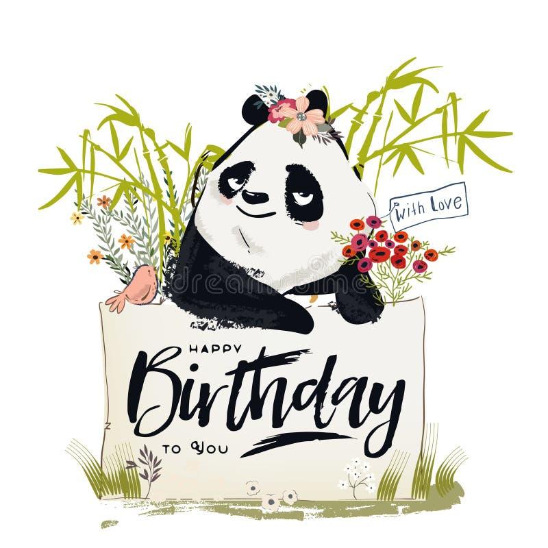 Pouca panda do aniversário ilustração royalty free