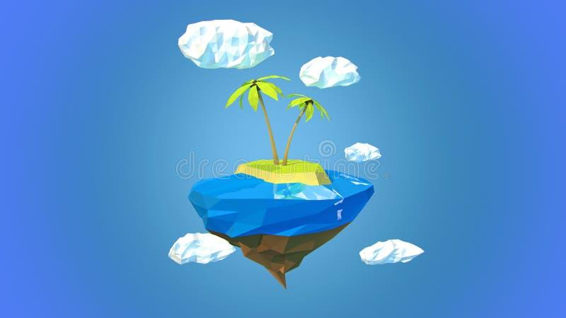 Pouca planeta-ilha bonita que flutua no céu ilustração stock