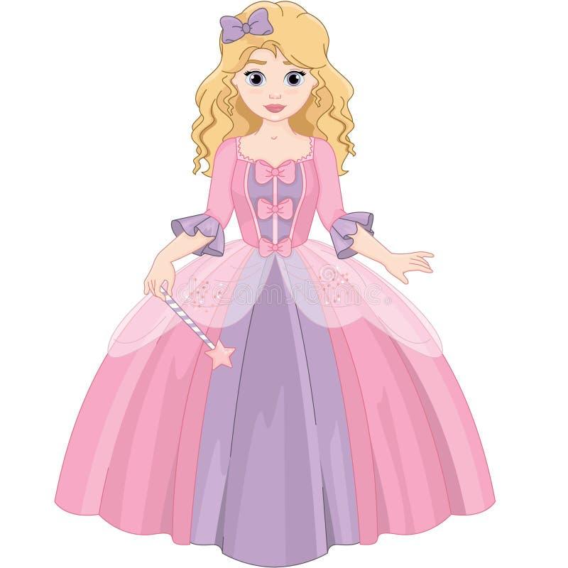 Pouca princesa bonita mágica bonito ilustração stock
