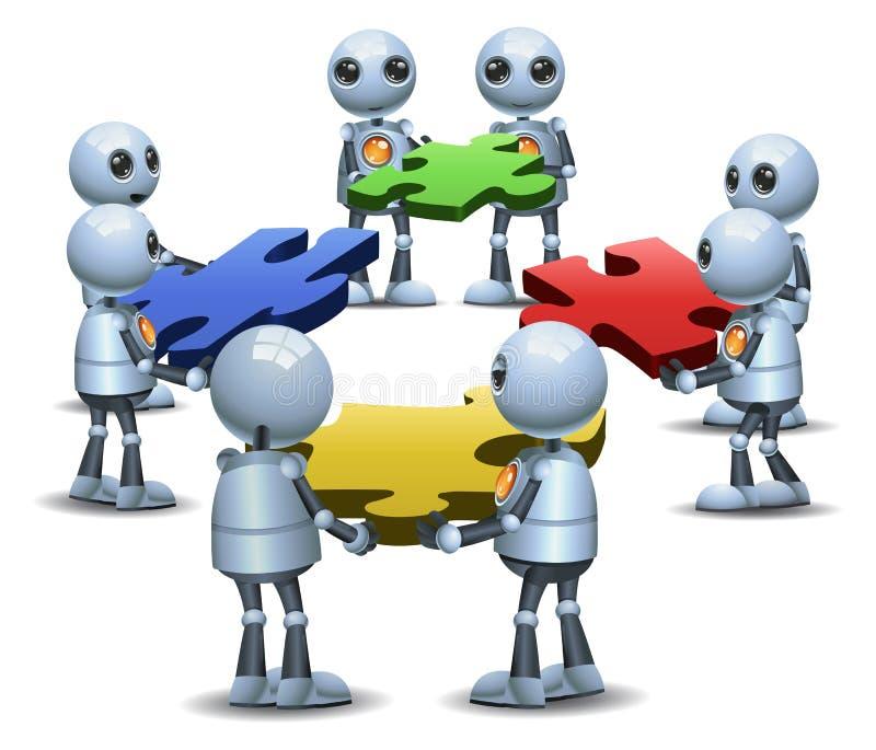 Pouca tentativa do grupo do robô ao enigma de conexão ilustração royalty free