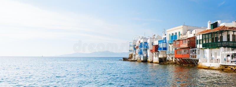 Pouca Veneza na ilha de Mykonos, Grécia imagem de stock