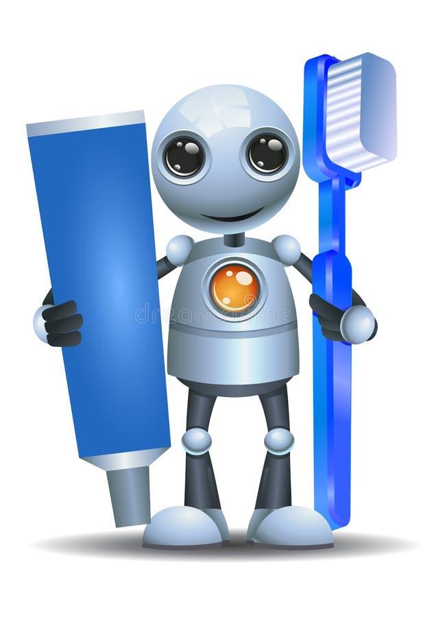 Poucas escova de dentes e pasta da posse do robô ilustração do vetor