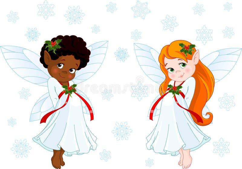 Poucas fadas do Natal ilustração royalty free