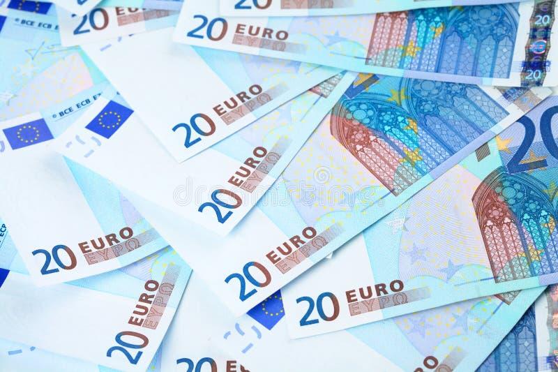 Poucas notas de banco do euro 20 foto de stock royalty free