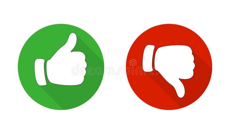 Pouce à travers les icônes rouges et vertes Illustration de vecteur J'aime et déteste autour des boutons dans la conception plate illustration de vecteur