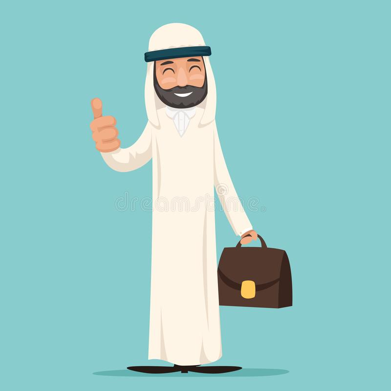 Pouce arabe de sourire comme l'illustration de vecteur de conception de Character Icon Cartoon d'homme d'affaires illustration libre de droits