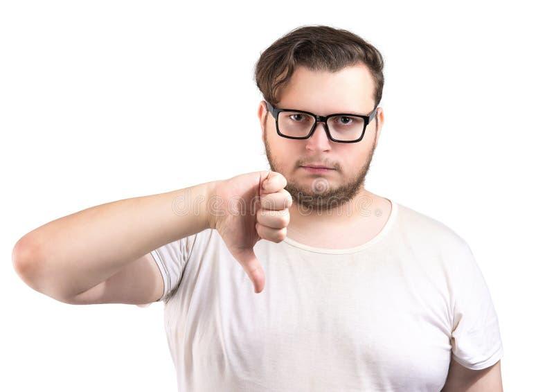 Pouce barbu d'apparence d'homme vers le bas photos libres de droits