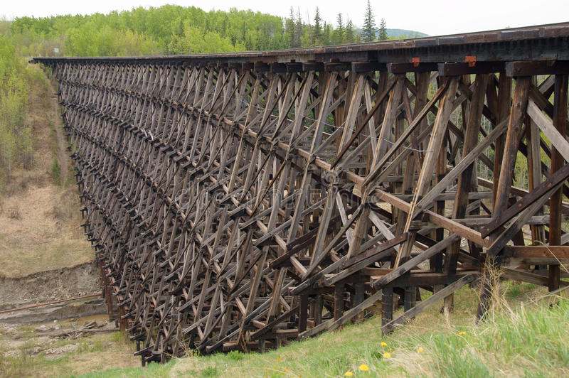 Pouce Coupe Vintage Wooden Railway Trestle. Pouce Coupe, British Columbia, Canada Vintage Wooden Railway Trestle royalty free stock images