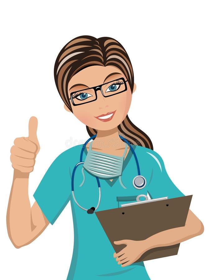 Pouce de docteur de femme vers le haut du signe de main d'isolement illustration stock