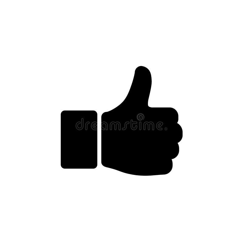 Pouce de main vers le haut d'icône dans le style plat symbole oui illustration stock