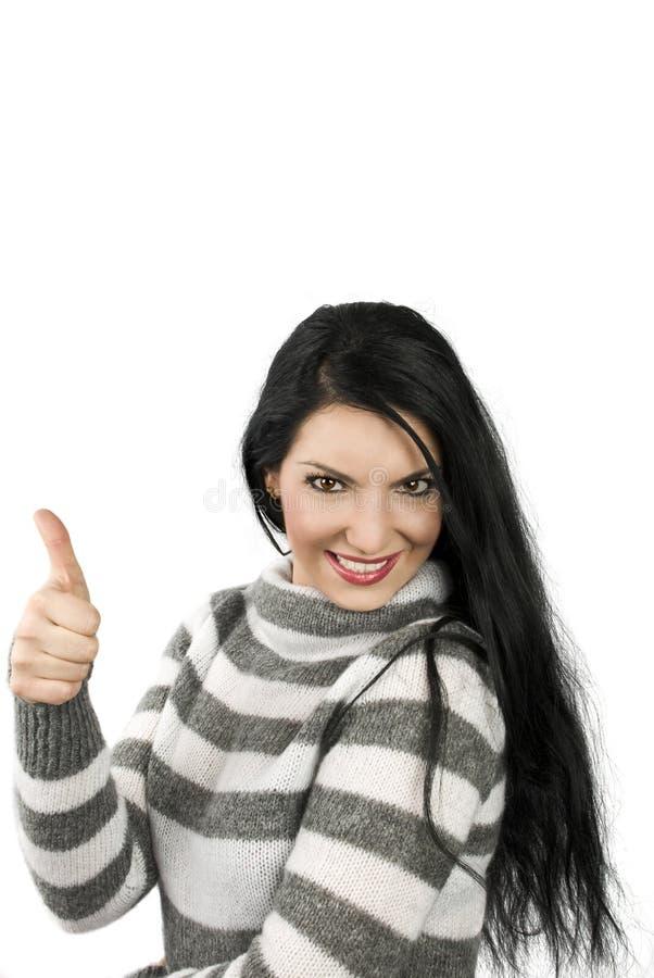 pouce heureux vers le haut de femme images stock