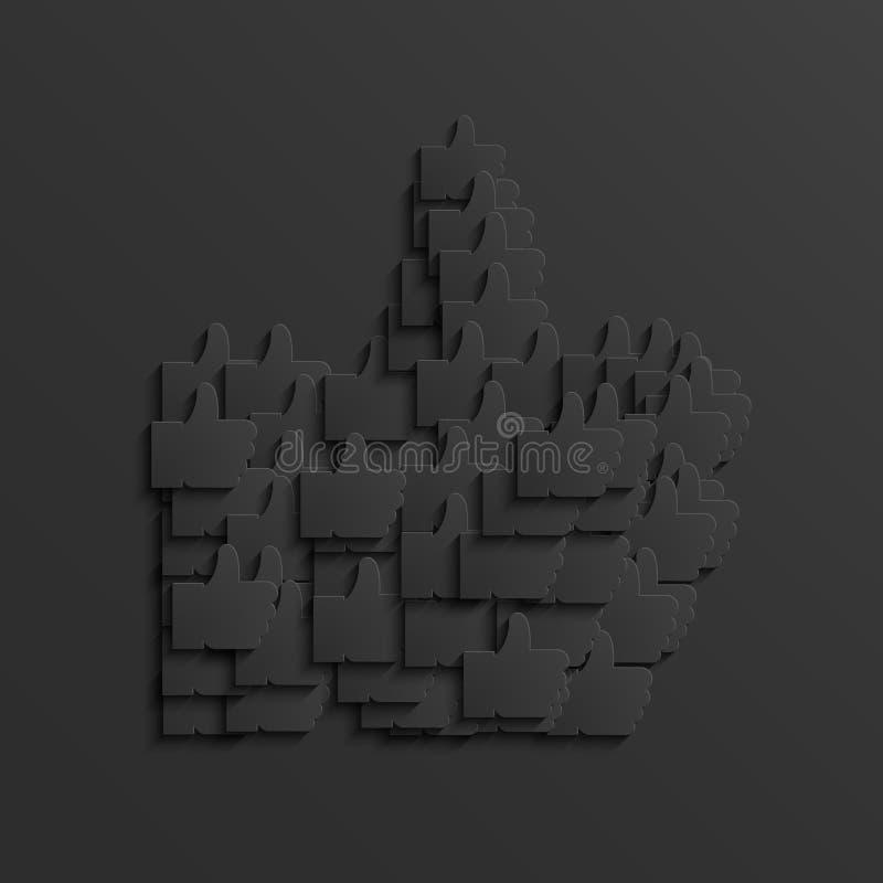 Pouce noir moderne de vecteur vers le haut d'icône illustration de vecteur