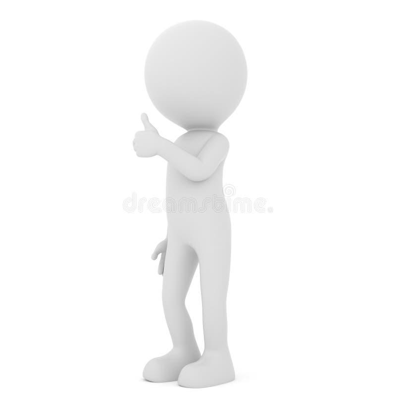 Pouce positif d'apparence d'homme vers le haut - de caractère humain de personnes rendu 3d illustration de vecteur