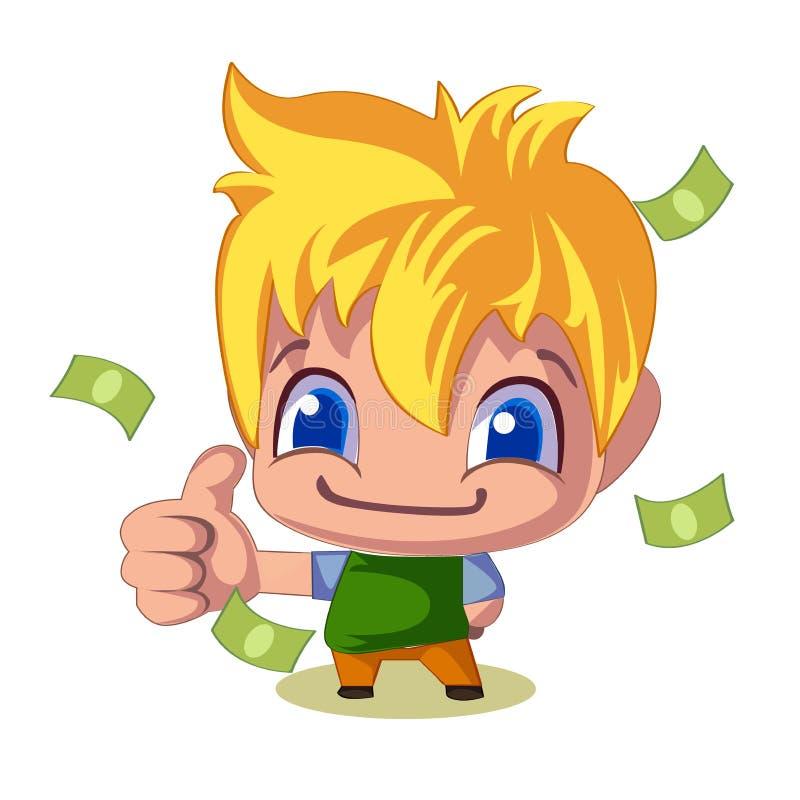 Pouce réussi d'homme d'affaires vers le haut de pile de factures d'argent, illustration illustration libre de droits