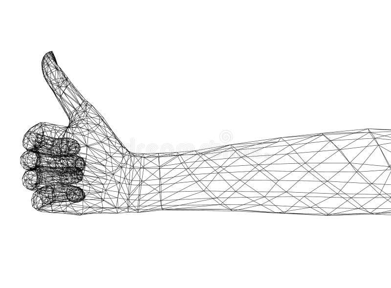 Pouce vers le haut d'architecte Blueprint de concept - d'isolement illustration libre de droits