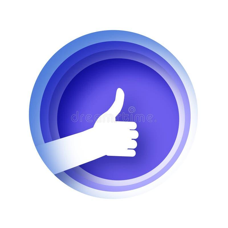 Pouce vers le haut de geste dans le style coup? de papier Geste de main faisant de l'auto-stop Veillez-vous pour conna?tre de bon illustration stock