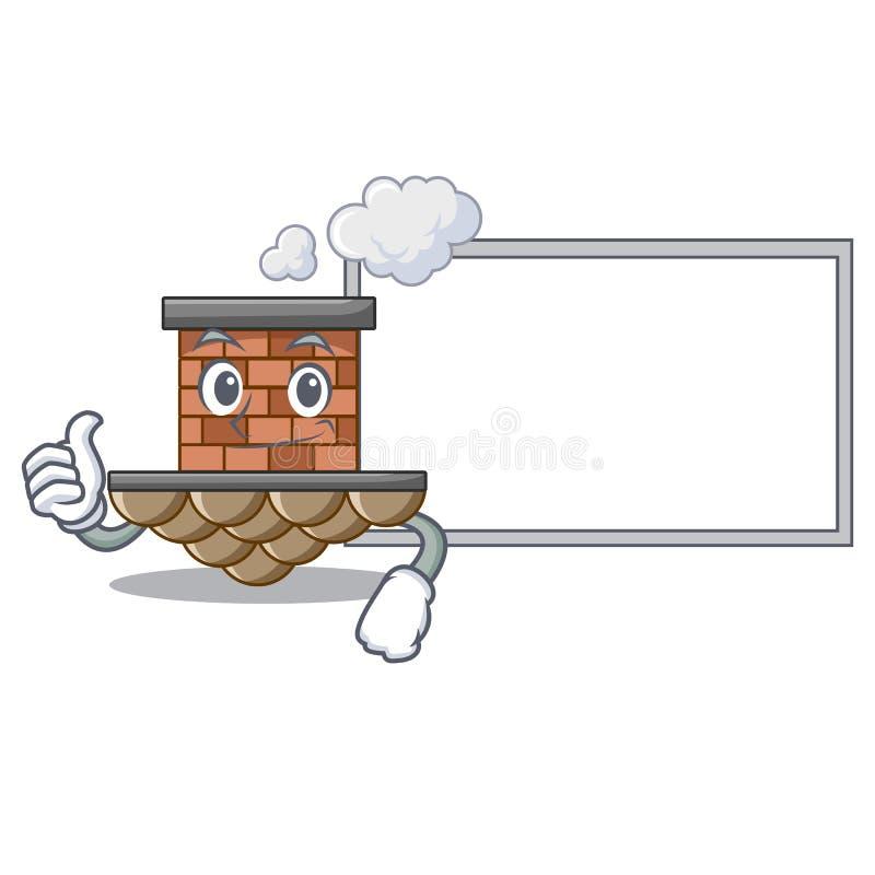 Pouces avec la cheminée de brique de conseil dans la mascotte de forme illustration libre de droits