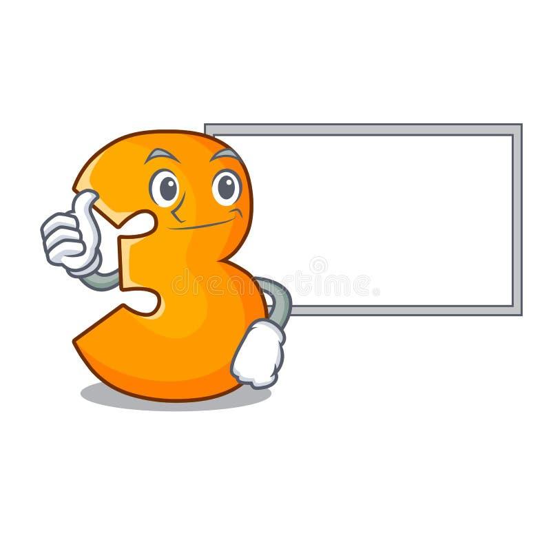 Pouces avec la lettre du numéro trois de coupe de papier de caractère de conseil illustration stock