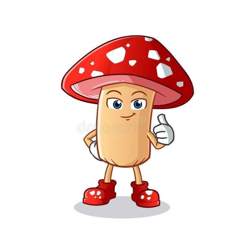 Pouces de champignon vers le haut d'illustration de bande dessinée de vecteur de mascotte photographie stock libre de droits