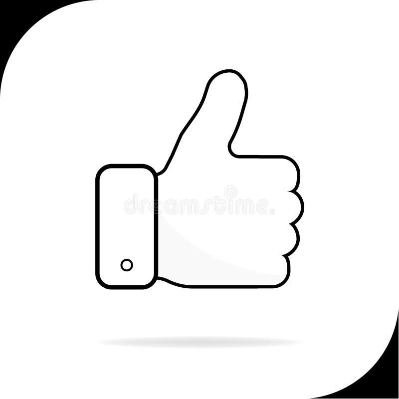 Pouces de main vers le haut de ligne icône de couleur Illustration de vecteur illustration libre de droits