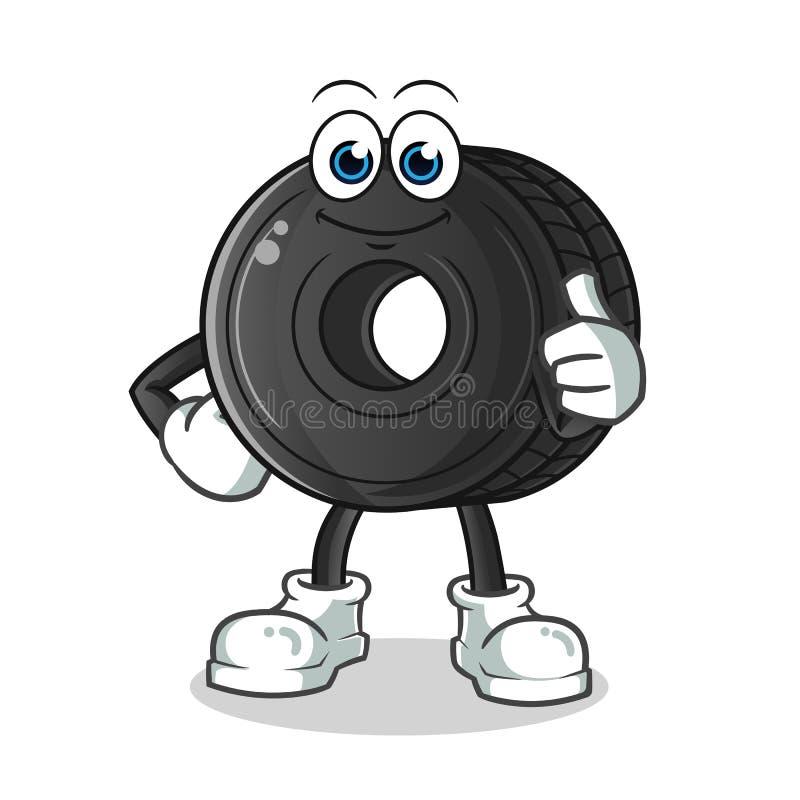 Pouces de pneu vers le haut d'illustration de bande dessinée de vecteur de mascotte photo stock