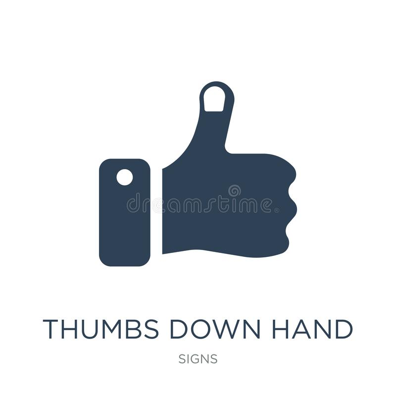 pouces en bas d'icône de main dans le style à la mode de conception pouces en bas de l'icône de main d'isolement sur le fond blan illustration stock