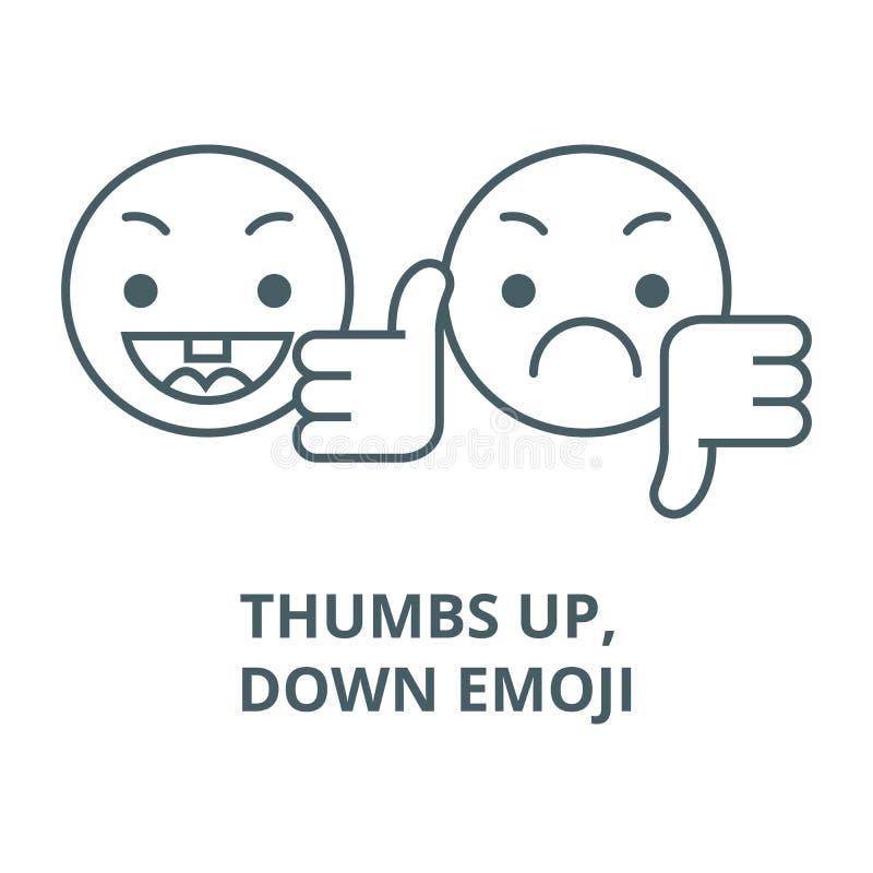 Pouces, en bas de la ligne icône de vecteur d'emoji, concept linéaire, signe d'ensemble, symbole illustration libre de droits